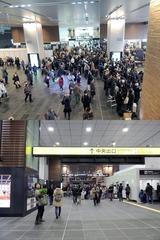 富山駅の新幹線改札口の外部側と内部側