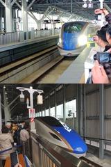 富山駅に入線するする新幹線