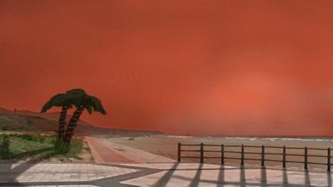 砂浜 浜 海辺 夕景 夕焼け