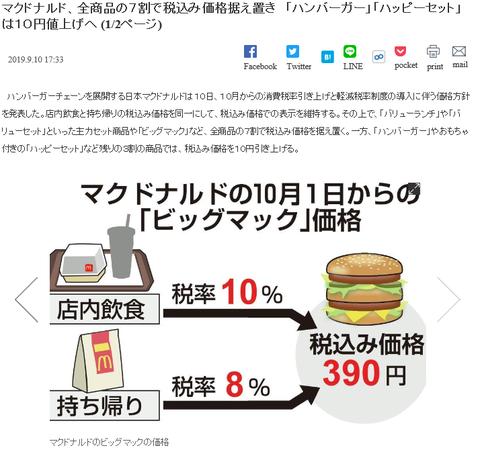 マクドナルド消費税