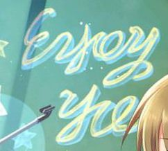『デレステ』SSR多田李衣菜の背景のローマ字はなんて書いてあるのん