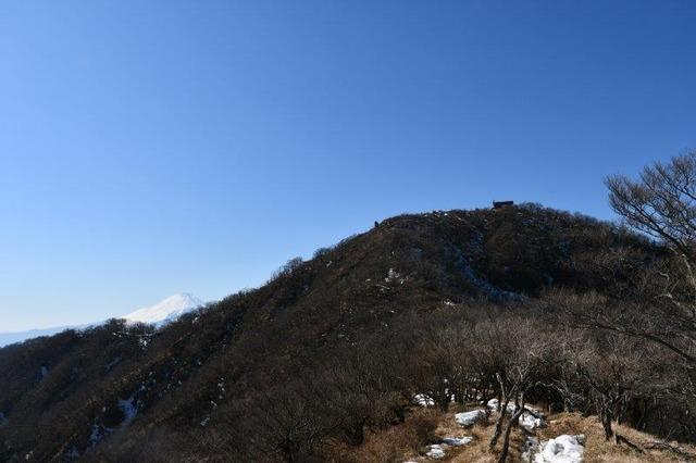 塔ノ岳(右)と富士山