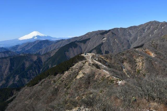 表尾根の全景。正面手前は烏尾山。小さな山小屋