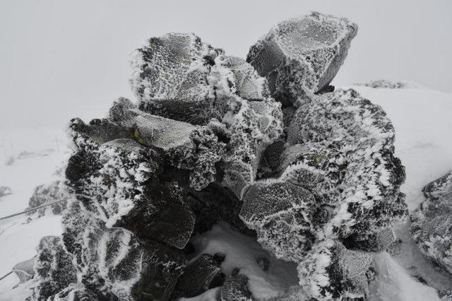 坪庭の巨岩も凍り付いたようだ