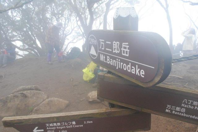 霧に煙る万二郎岳山頂