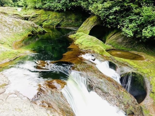 写真02 小俣峡のポットホールと滝。