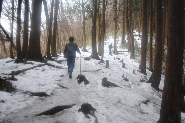 雪というより凍結した路面だった