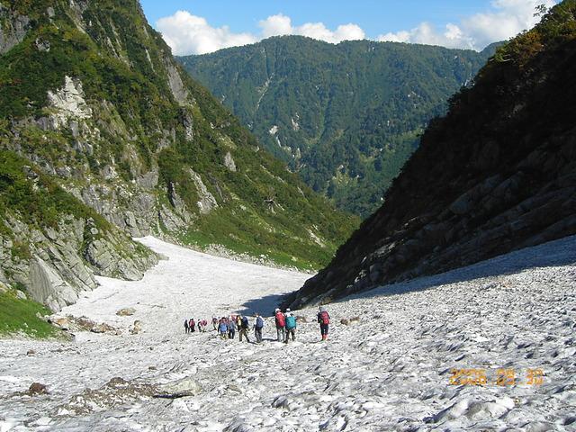 剣沢雪渓を下る (003)