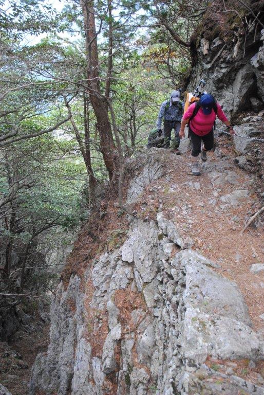 登山道の片側は切り立った崖