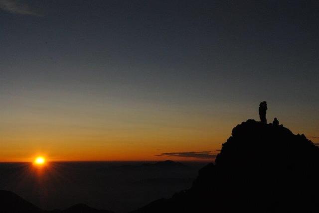奥穂高岳山頂でのご来光