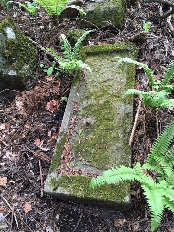 山中に残る数坂隧道の石材。120年前の夢の跡。
