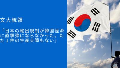 【無敵の人】文大統領「日本の輸出規制が韓国経済に直撃弾にならなかった。ただ1件の生産支障もない」