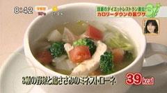 8種類の野菜と鶏ささみのミネストローネ(1人前39kcal)