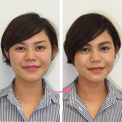 顔タイプ診断と顔分析メイクレッスンの組み合わせで変身その1