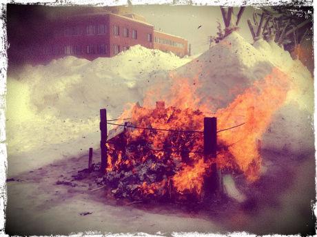 どんど焼きの火