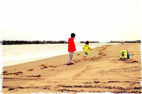 寒くて、砂浜だけ