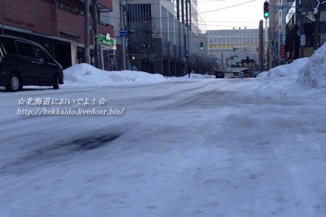 札幌の道はスケートリンク