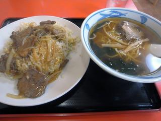 牛肉あんかけ炒飯+ラーメン@大興飯店