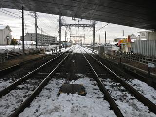 線路はちょい雪