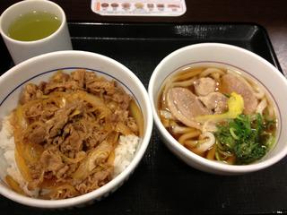 鴨うどん+牛丼