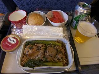 シンガポール行き機内食