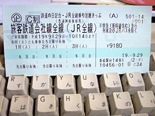 鉄道に日記念・JR全線乗り放題きっぷ