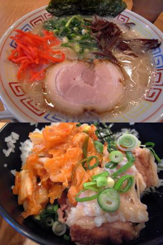 白ラーメン+角煮キムチ丼