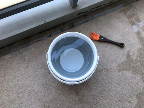 ためていた水を使って掃除