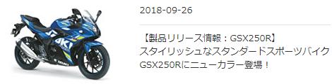 スズキ 「GSX250R」2019年モデルを発売。エクスターカラーが追加されたぞ