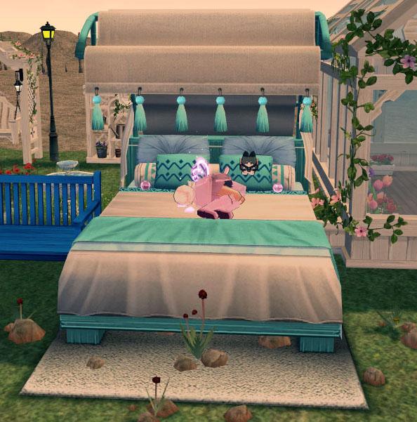リゾート風野外ベッド