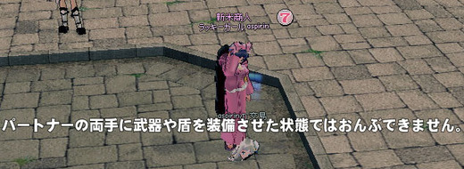 パートナーの両手に武器や盾を装備させた状態ではおんぶできません。