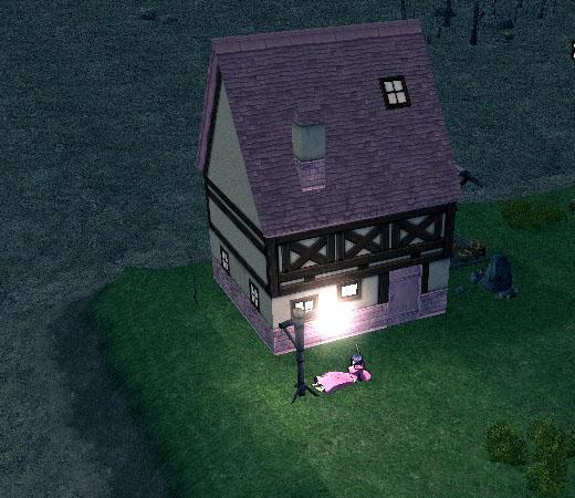 白く光る街灯(農村)