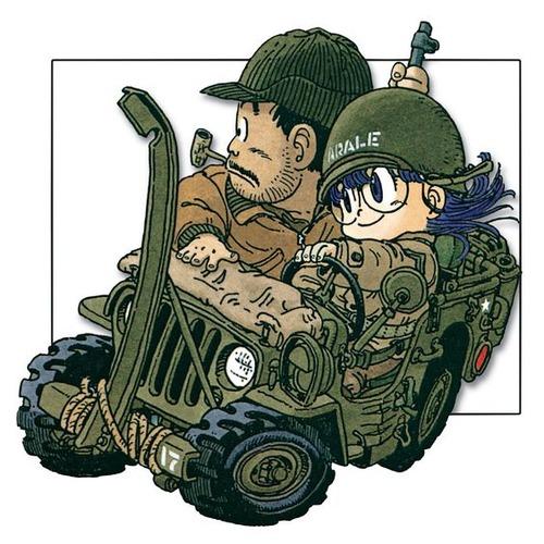 軍用車に乗ったDr.スランプアラレちゃん