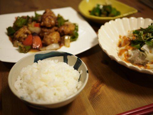 「青みゆく雪」豚コマ酢豚の夕飯