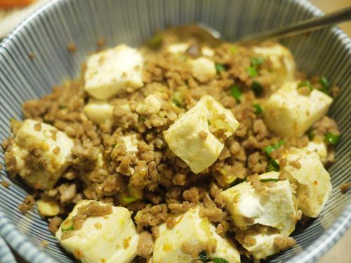 豆腐とひき肉の甘辛味噌そぼろ