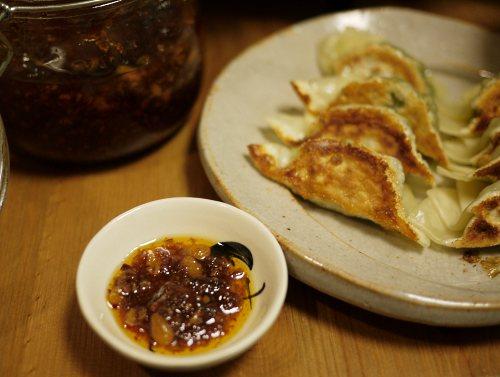 青菜の贅沢餃子と手作りラー油