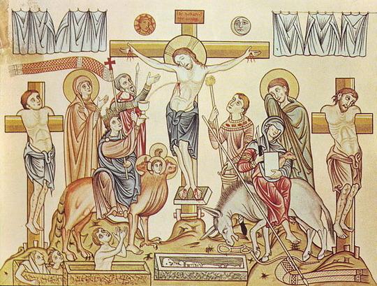 633px-Hortus_Deliciarum,_Die_Kreuzigung_Jesu_Christi