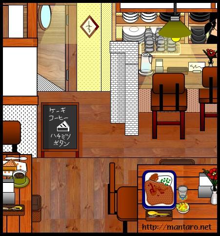 カフェ「ハチミツボタン」(エクセル画)