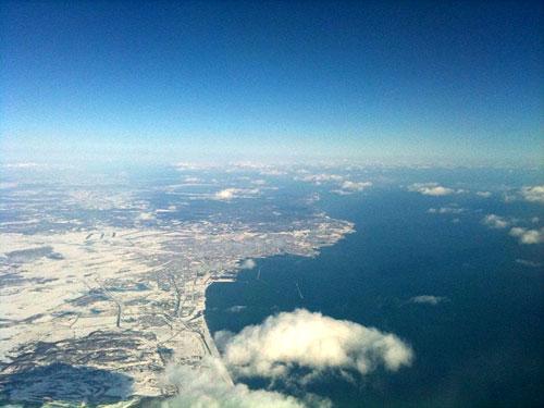 釧路上空から北海道入り