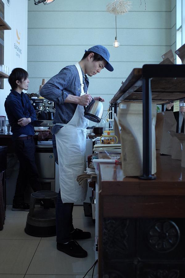 「Basking coffee」でエノハラさん、おかえり。