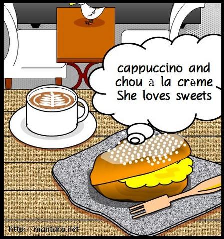カプチーノとシュークリーム(エクセル画)