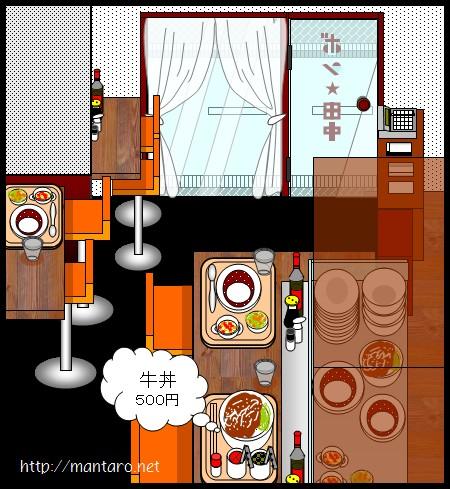 カレー専門店「ボン★田中」の牛丼(エクセル画)