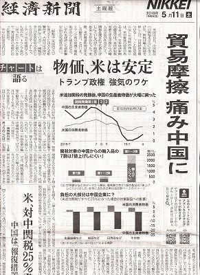 米中貿易摩擦の日経記事