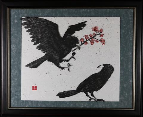 鴉と桜 額装