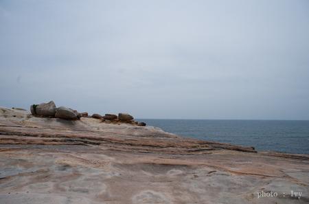 海を見つめる石