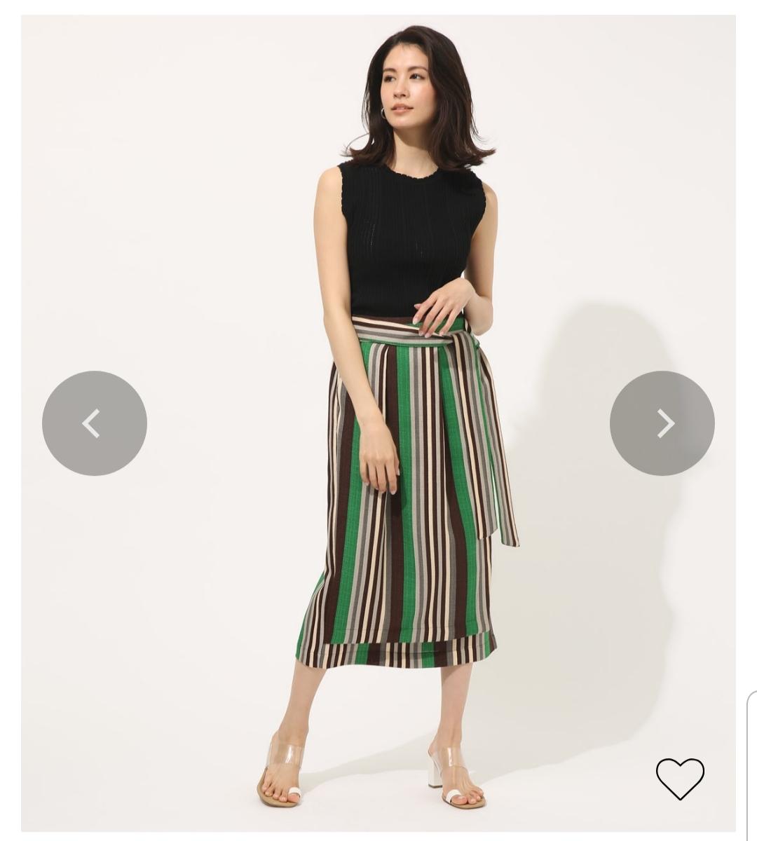 今年のスカートは柄物で