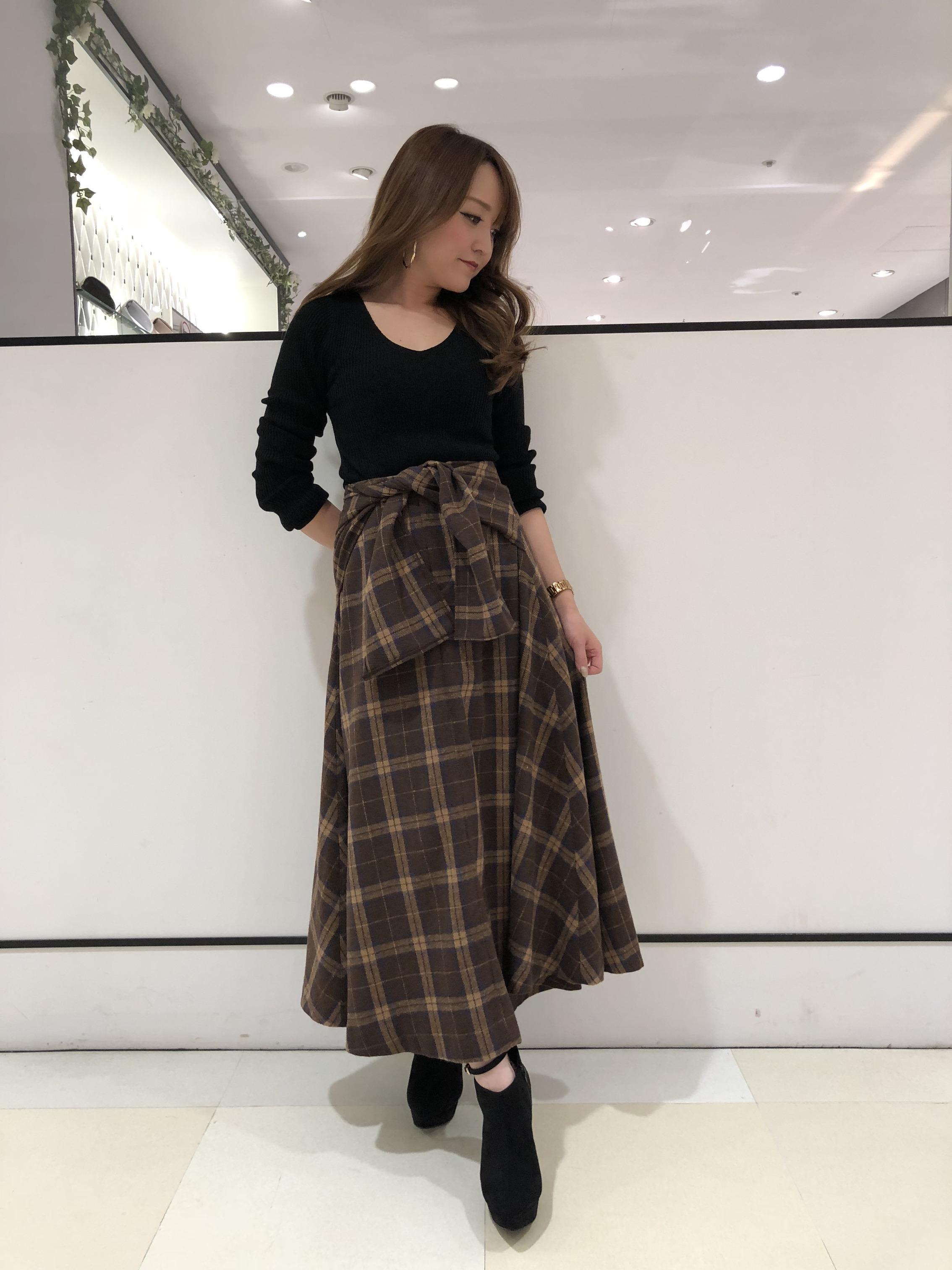 綺麗すぎるシルエットのチェック柄ロングスカート