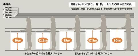 キッチン寸法 身長高さイメージ img_image01
