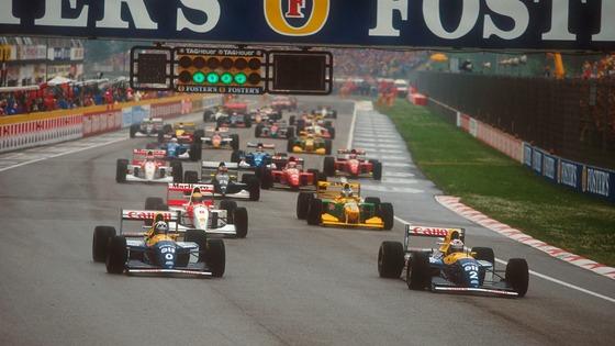 ウィリアムズ2台、アラン・プロスト(2)とデイモン・ヒル(0):1993年F1サンマリノGPスタート