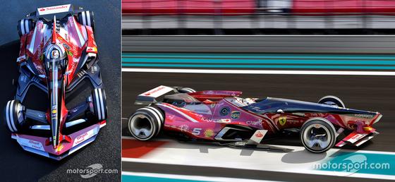 F1マシンの将来像: 半分閉鎖されたキャノピー設計(セミ・クローズド・キャノピー設計)